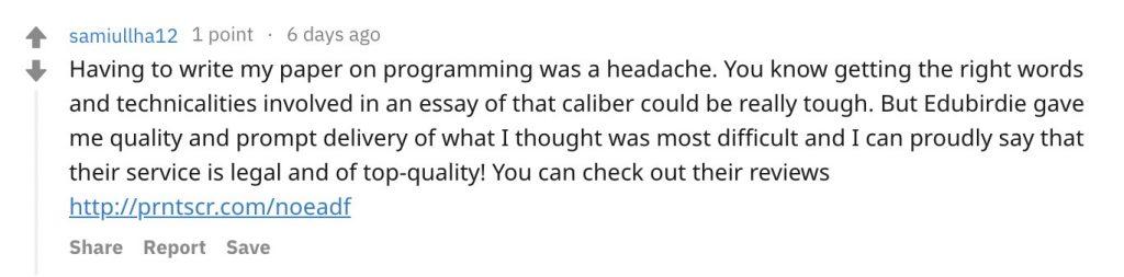 Edubirdie Review from Reddit - top5writingservices.com